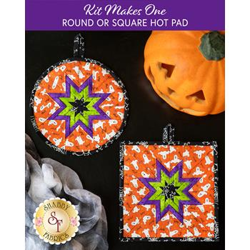 Folded Star Hot Pad Kit - Here We Glow - Round or Square - Orange
