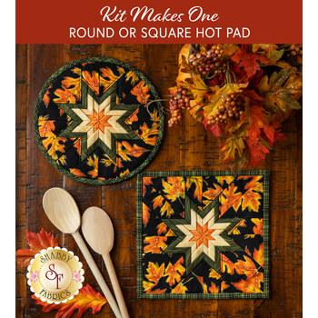 Folded Star Hot Pad Kit - Autumn Elegance - Round OR Square - Black