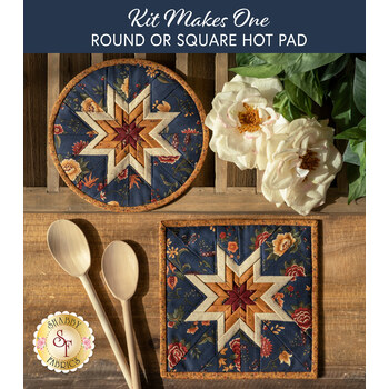 Folded Star Hot Pad Kit - Prairie Dreams - Round OR Square - Navy