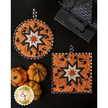Folded Star Hot Pad Kit - Retro Halloween - Round OR Square - Orange