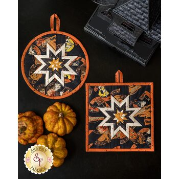 Folded Star Hot Pad Kit - Retro Halloween - Round OR Square - Black