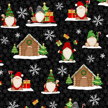Timber Gnomies Tree Farm 307-99 Black by Henry Glass Fabrics