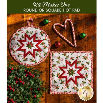 Folded Star Hot Pad Kit - Round OR Square - Here Comes Santa - Candy Canes
