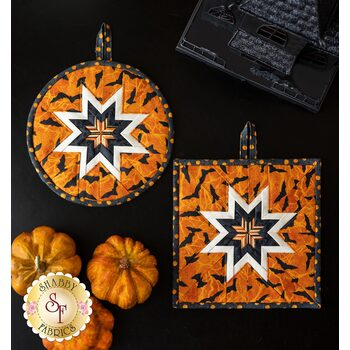 Folded Star Hot Pad Kit - Round OR Square - Black Cat Capers - Orange