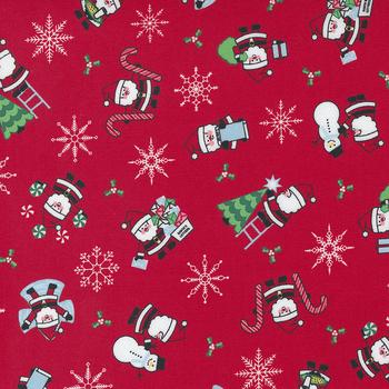 Candy Cane Lane 24120-13 Cardinal Santa Novelty Snowman by Moda Fabrics