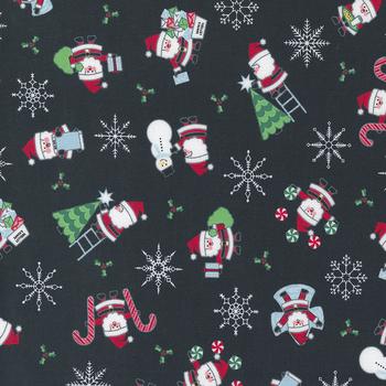 Candy Cane Lane 24120-15 Charcoal Santa Novelty Snowman by Moda Fabrics