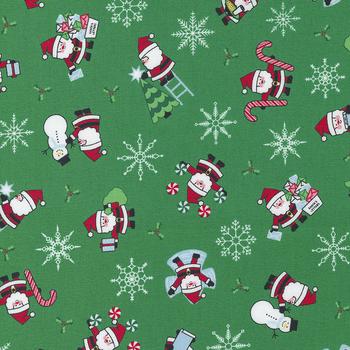 Candy Cane Lane 24120-14 Evergreen Santa Novelty Snowman by Moda Fabrics