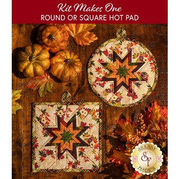 Folded Star Hot Pad Kit - Round OR Square - Pumpkin Harvest - Cream