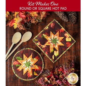 Folded Star Hot Pad Kit - Round OR Square - Pumpkin Harvest - Burgundy