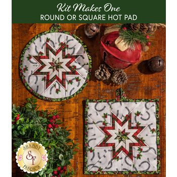 Folded Star Hot Pad Kit - Hay...It's Christmas - Round OR Square - White