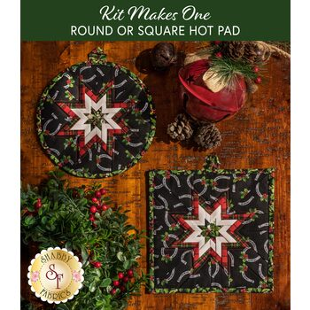 Folded Star Hot Pad Kit - Hay...It's Christmas - Round OR Square - Black