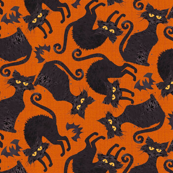 Boo Y'all 19564-ORG Orange by 3 Wishes Fabric