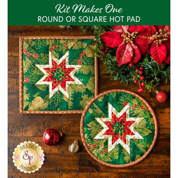 Folded Star Hot Pad Kit - Round OR Square - Holiday Flourish 14 - Green
