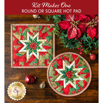 Folded Star Hot Pad - Round OR Square - Holiday Flourish 14 - Red