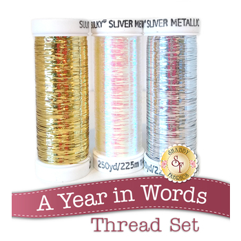 A Year in Words Pillow Club - 3pc Sulky Sliver Metallic Thread Set