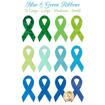 Laser Cut Green & Blue Ribbons - 4 Sizes Available!