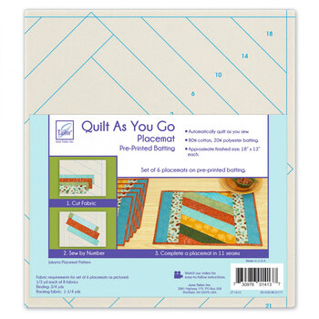 Quilt As You Go Pre-Printed Batting - Placemats - Jakarta - Makes 6