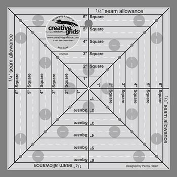 "Creative Grids 6½"" Square It Up & Fussy Cut Ruler #CGRSQ6"