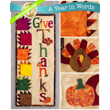 A Year In Words Wall Hangings - Give Thanks - November - PDF Download