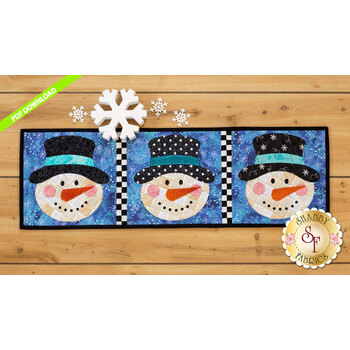Patchwork Accent Runner - Snowmen - January - PDF Download