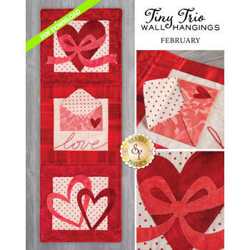 Tiny Trio Wall Hangings - Love Note - February - PDF Download