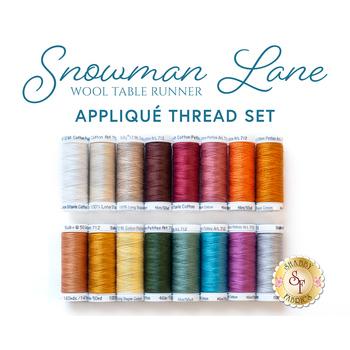 Snowman Lane Wool Table Runner - 16 pc Appliqué Thread Set