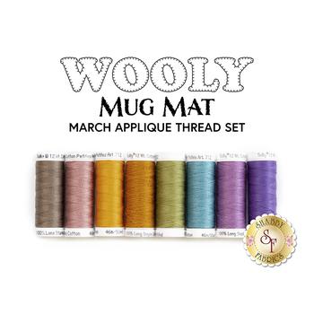 Wooly Mug Mat Series - March - 8pc Applique Thread Set
