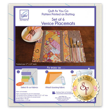 Quilt As You Go Pre-Printed Batting - Venice Placemats - Makes 6