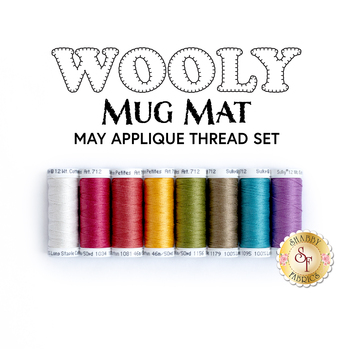 Wooly Mug Mat Series - May - 8pc Applique Thread Set