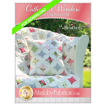 Cathedral Window In Heather Quilt & Pillow - PDF DOWNLOAD