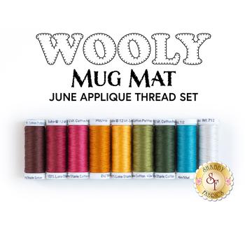 Wooly Mug Mat Series - June - 9 pc Applique Thread Set