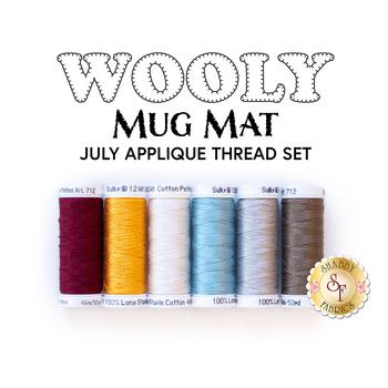 Wooly Mug Mat Series - July - 6pc Applique Thread Set