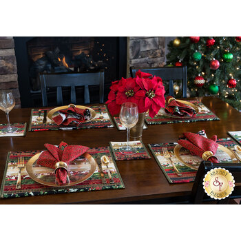 Jelly Roll Placemats & Coasters Kit - Hoffman Christmas