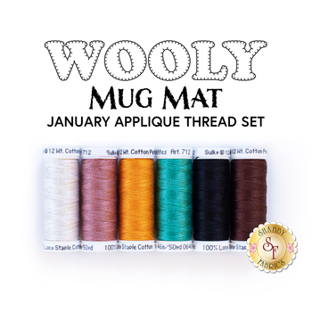 Wooly Mug Mat Series - January - 6pc Applique Thread Set