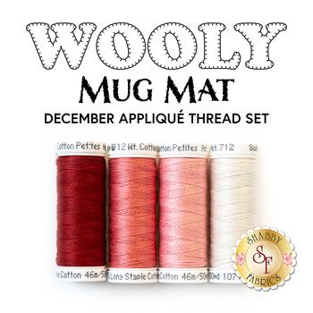 Wooly Mug Mat Series - December - 4pc Applique Thread Set