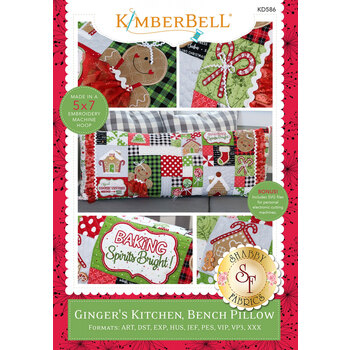 Ginger's Kitchen Bench Pillow - Machine Embroidery CD