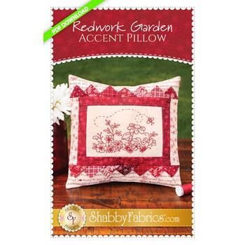 Redwork Garden Accent Pillow Pattern - PDF Download