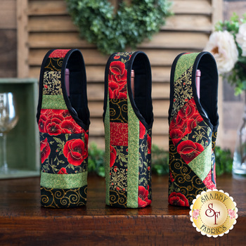 Quilt As You Go Wine Totes Kit - Gilded Blooms