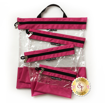 Clearly Organized Clear Bag Set - Pink