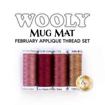 Wooly Mug Mat Series - February - 4pc Appliqué Thread Set