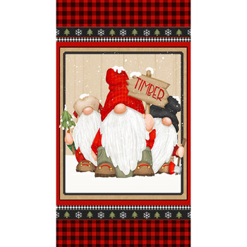 Timber Gnomies 9277P-89 Panel Red/Black by Shelly Comiskey for Henry Glass Fabrics