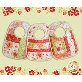 Quilt As You Go Baby Bibs Kit - Canning Day - Coral