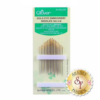 Clover Gold Eye Embroidery Needles - Size 3/9 - 16ct