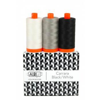 Aurifil Color Builder 3pc Set - Carrara - Black/White