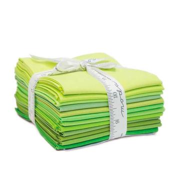 Bella Solids  12 FQ Set - Green by Moda Fabrics