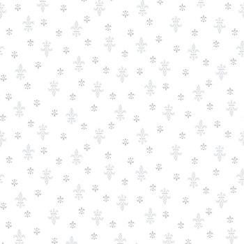 Quilter's Flour II 9424-01W White on White Fleur de Lis by Henry Glass Fabrics