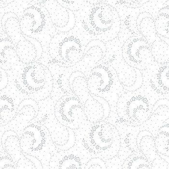 Quilter's Flour II 9428-01W White on White Swirling Small Flowers by Henry Glass Fabrics