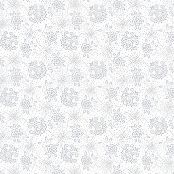 Quilter's Flour II 9431-01W White on White Stylized Flower by Henry Glass Fabrics
