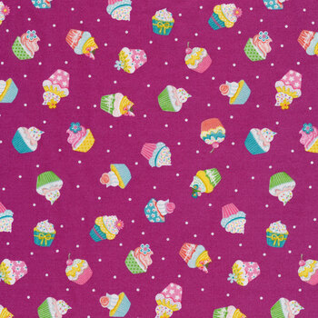 Daydream 2277-L Purple Cupcakes by Makower UK for Andover