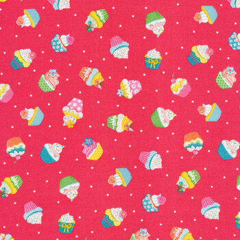 Daydream 2277-P Pink Cupcakes by Makower UK for Andover